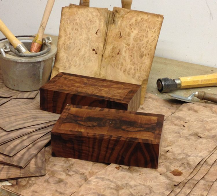 Walnut veneered boxes