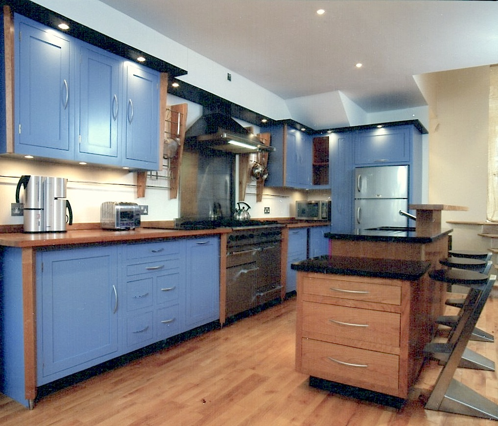 Cherrywood-And-Blue-Laquer-Kitchen